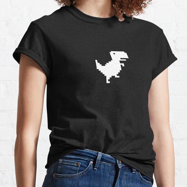 Chrome Dino, Dinosaurier, 8bit Pixel, Funny Tyrannosaurus Rex Design Weiß, Trex, T-Rex, Chrom Classic T-Shirt