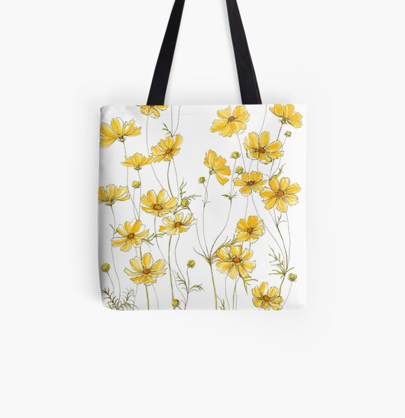 Yellow Cosmos Flowers All Over Print Tote Bag