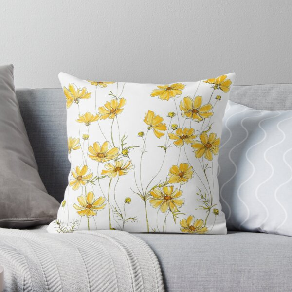 Yellow Cosmos Flowers Throw Pillow