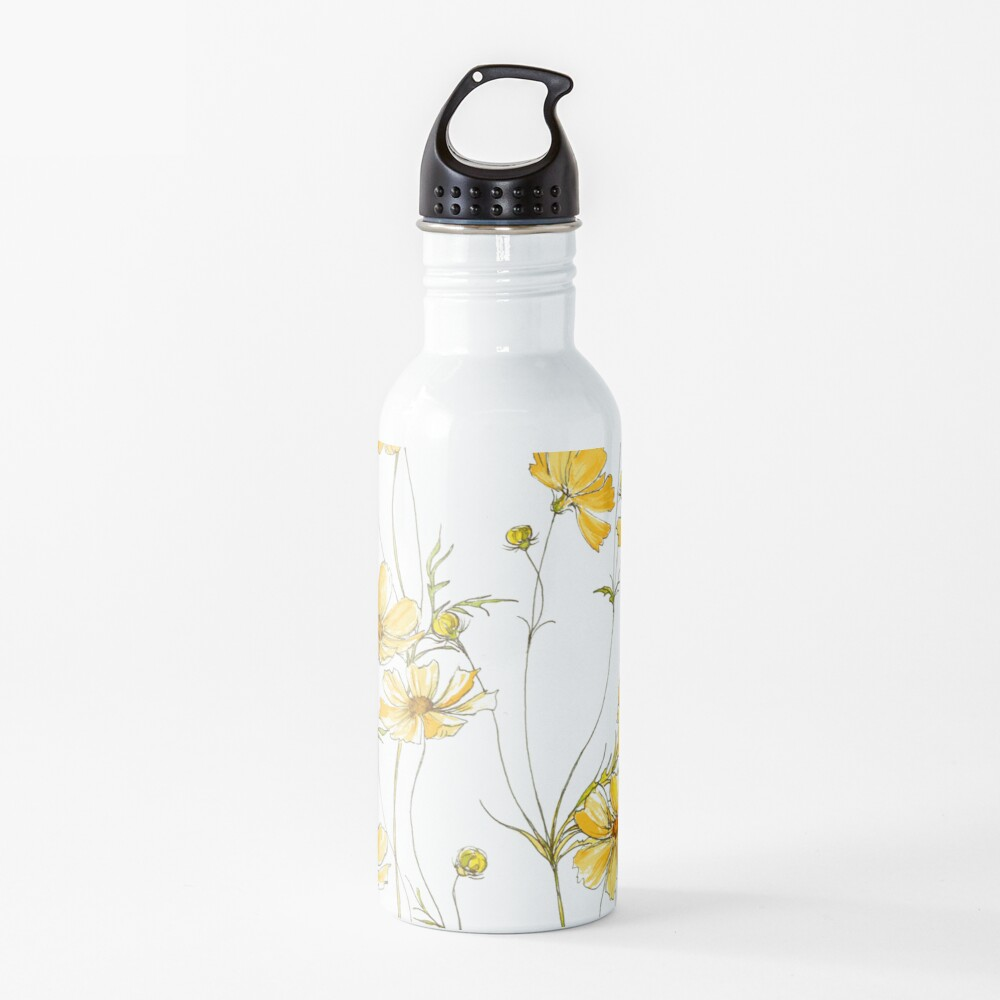 Yellow Cosmos Flowers Water Bottle