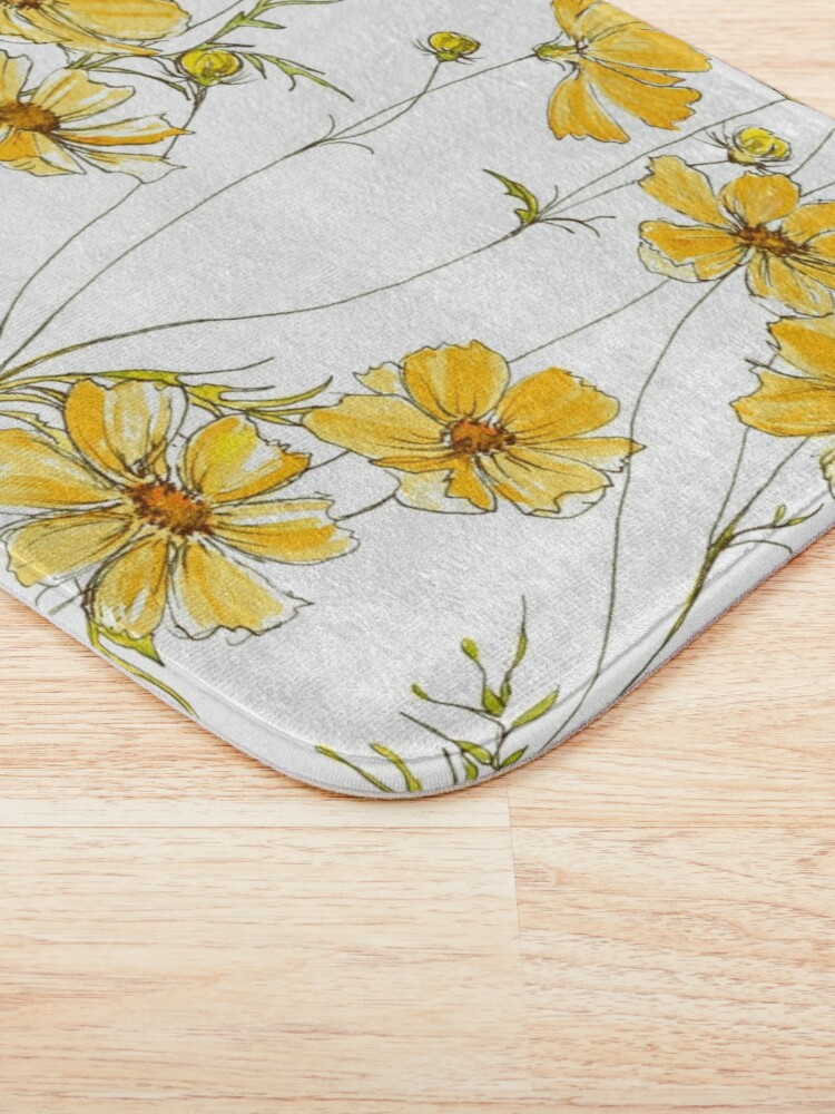 Alternate view of Yellow Cosmos Flowers Bath Mat