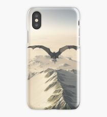 Grey Dragon Flight Over Snowy Mountains iPhone Case
