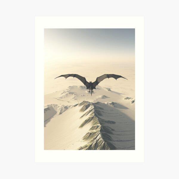 Grey Dragon Flight Over Snowy Mountains Art Print