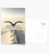 Grey Dragon Flight Over Snowy Mountains Postcards