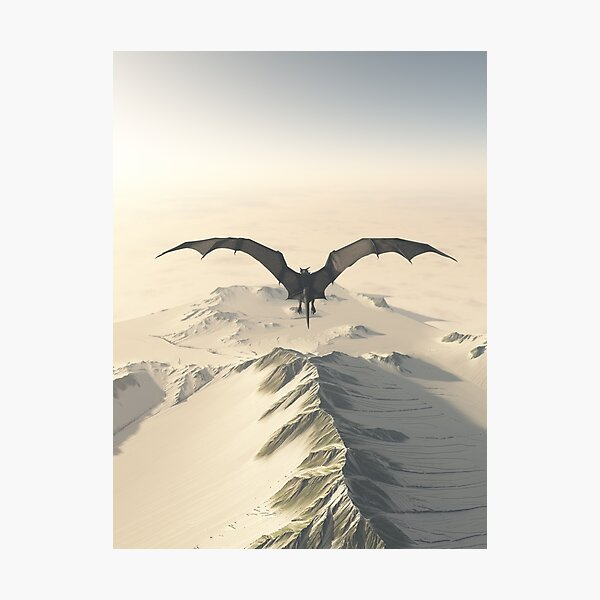 Grey Dragon Flight Over Snowy Mountains Photographic Print