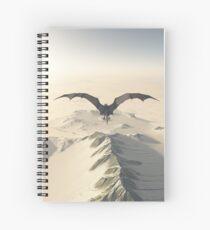 Grey Dragon Flight Over Snowy Mountains Spiral Notebook