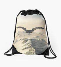 Grey Dragon Flight Over Snowy Mountains Drawstring Bag