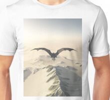 Grey Dragon Flight Over Snowy Mountains Unisex T-Shirt