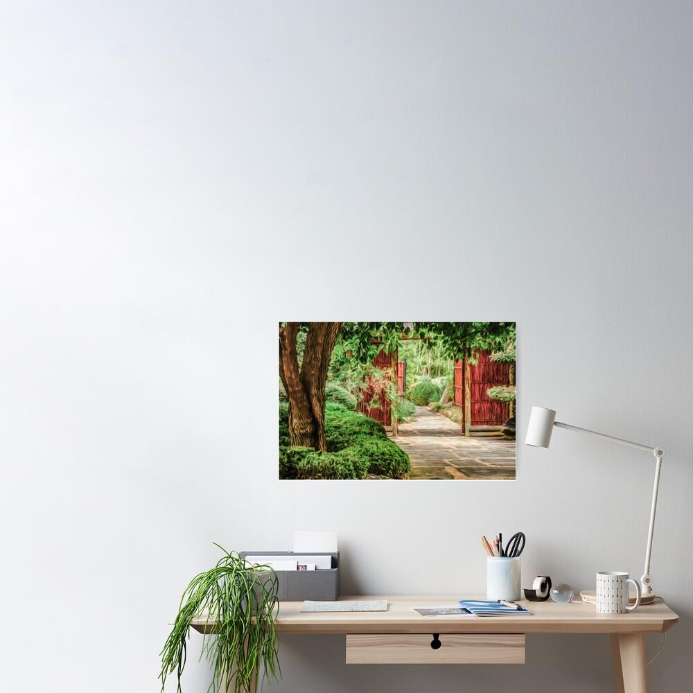 Japanese Gardens  (digital painting) Poster