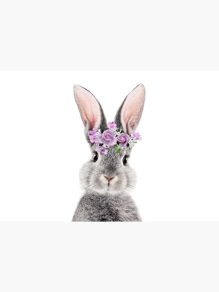 Bunny With Flower Crown by LotusPrintShop