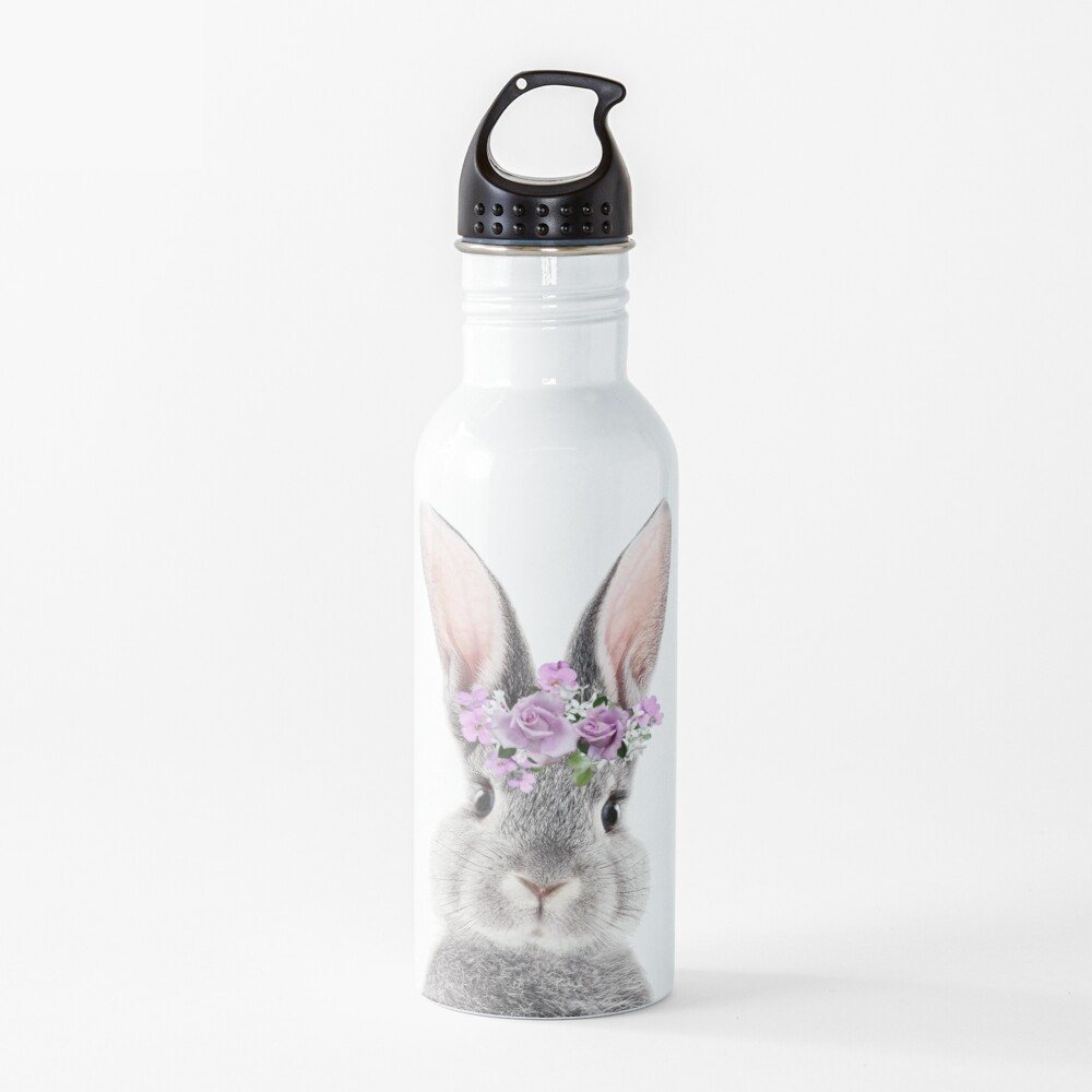 Bunny With Flower Crown Water Bottle