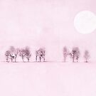 Dreamy pink landscape, handpainted by ColorsHappiness