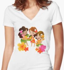 Tropical Trio Women's Fitted V-Neck T-Shirt