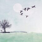 Dreamy green landscape with geese, handpainted by ColorsHappiness