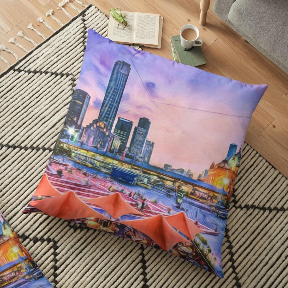 City Sunset II (digital painting) Floor Pillow