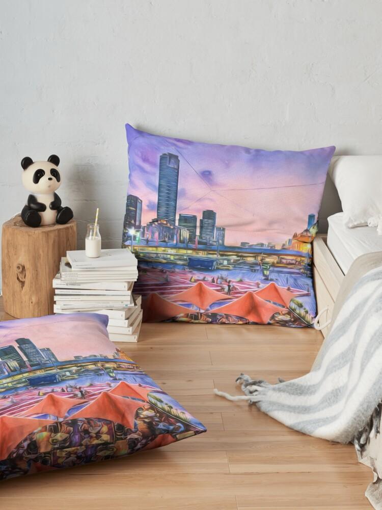 Alternate view of City Sunset II (digital painting) Floor Pillow