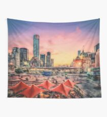City Sunset II (digital painting) Wall Tapestry