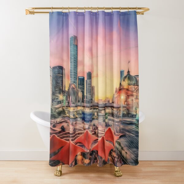 City Sunset II (digital painting) Shower Curtain