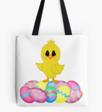 Easter Chick on Pastel Eggs Tote Bag