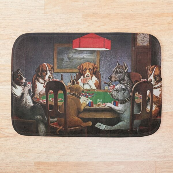 Dogs Playing Poker: A Friend In Need (High Resolution), C.M. Coolidge Bath Mat