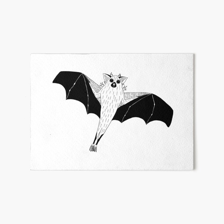 Dwarf Epauletted Fruit Bat (ink illustrations of weird animals that are real) Art Board Print