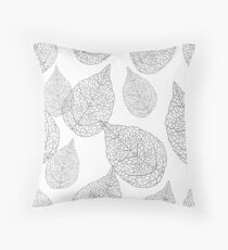 Gray Tones Abstract Leafs Pattern Throw Pillow
