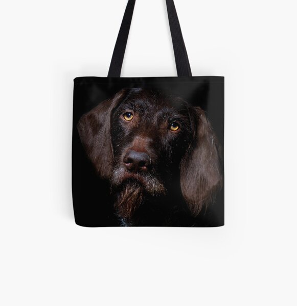 German Wirehaired Pointer Portrait All Over Print Tote Bag