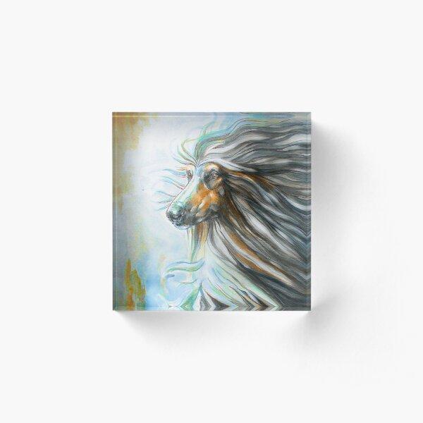 Black & Tan Afghan Hound Painting Acrylic Block