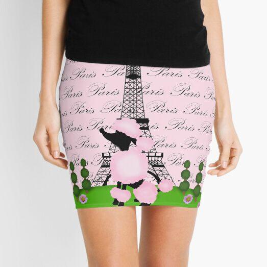 Pink Poodle Eiffel Tower Mini Skirt
