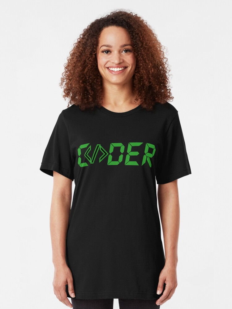Alternate view of C</>der - Green Digial Font Design for People who Write Code Slim Fit T-Shirt