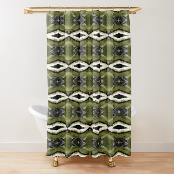 find the frogs, Trojan pond, near Goble, Oregon pattern Shower Curtain