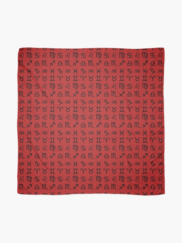 Alternate view of Zodiac Signs Pattern - 12 Astrological Signs Black on Red Scarf