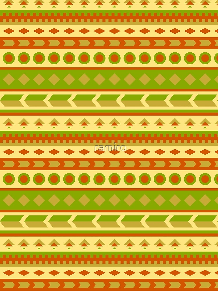 Native American Pattern in Yellow, Green, Red, Brown by ramiro