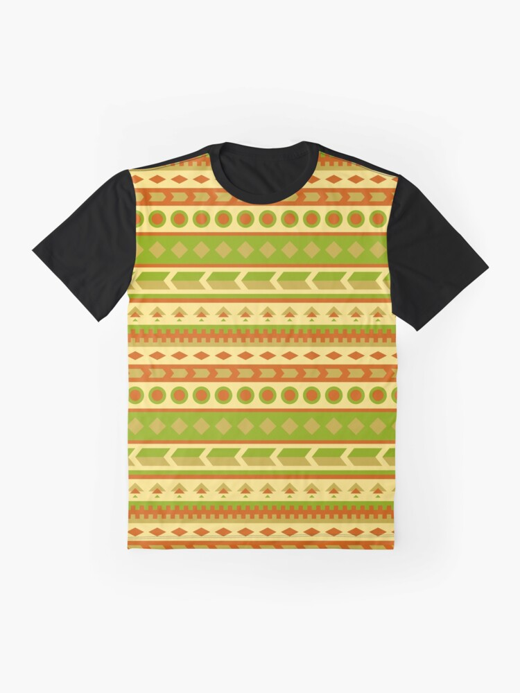 Alternate view of Native American Pattern in Yellow, Green, Red, Brown Graphic T-Shirt