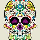 Colorful Floral Sugar Skull Illustration by artonwear