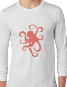 Nautical Coral Red Octopus Illustration T-Shirt
