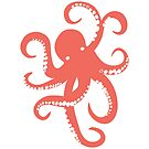 Nautical Coral Red Octopus Illustration by artonwear