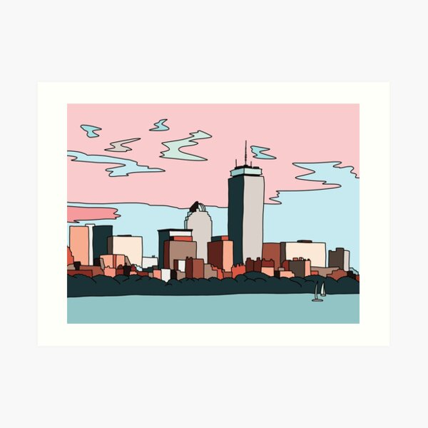 Boston skyline by Elebea Art Print