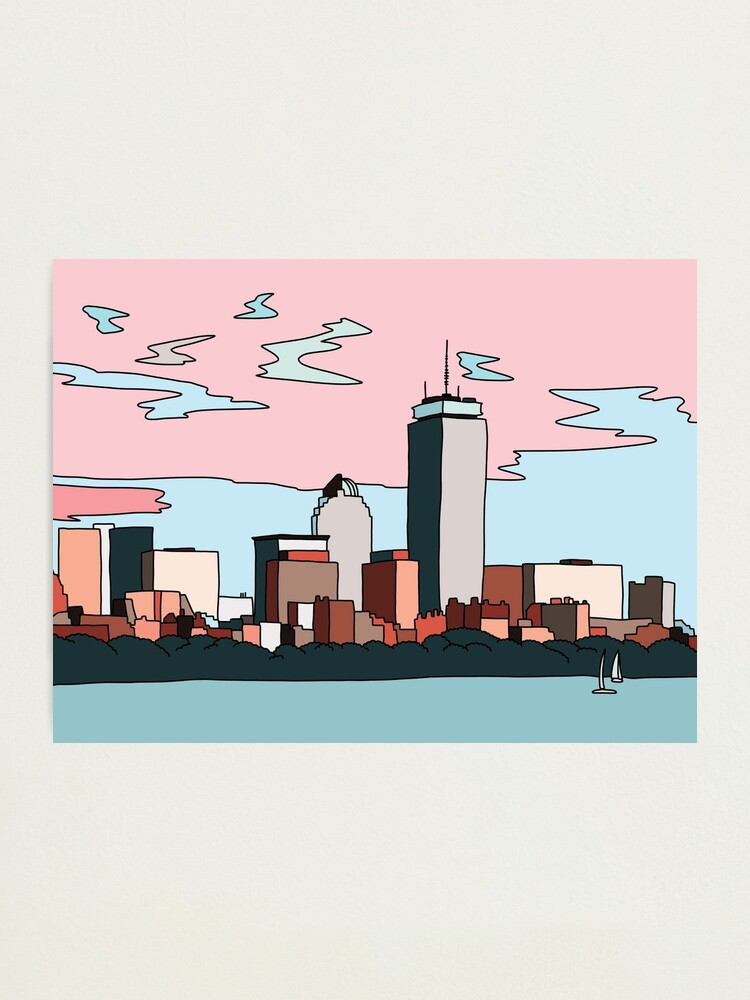 Alternate view of Boston skyline by Elebea Photographic Print