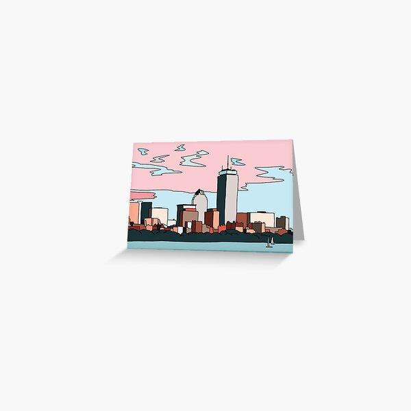 Boston skyline by Elebea Greeting Card
