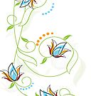 Colorful Delicate Floral Illustration by artonwear