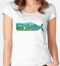 Sperm Whale wave Women's Fitted Scoop T-Shirt