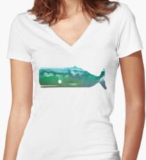Sperm Whale wave Women's Fitted V-Neck T-Shirt