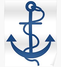 Navy Blue Nautical Boat Anchor Poster