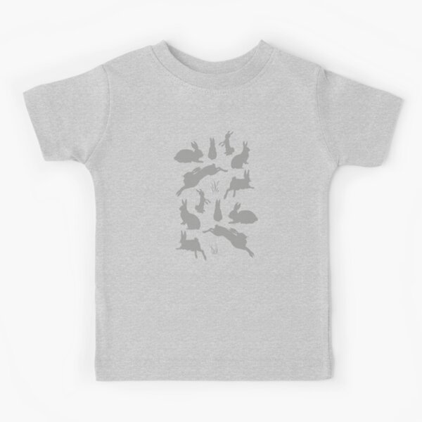 Rabbit Pattern | Rabbit Silhouettes | Bunny Rabbits | Bunnies | Hares | Grey and White |  Kids T-Shirt