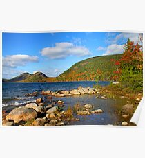 'Jordan Pond and the Bubbles, Fall Color' Poster