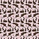 Rabbit Pattern   Rabbit Silhouettes   Bunny Rabbits   Bunnies   Hares   Pink and Brown    by EclecticAtHeART