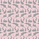 Rabbit Pattern   Rabbit Silhouettes   Bunny Rabbits   Bunnies   Hares   Pink and Grey    by EclecticAtHeART