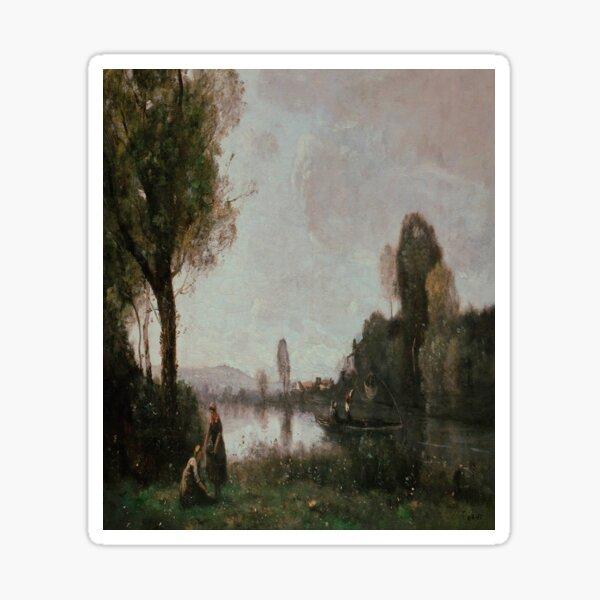 Seine Landscape near Chatou-Camille Corot Sticker