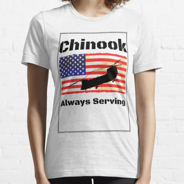 Chinook Helicopter on US Flag - Always Serving Essential T-Shirt